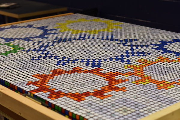 students created a large Rubik's cube mosaic of our school gears
